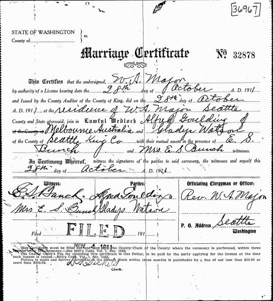 Alf Goulding wedding certificate (1911)