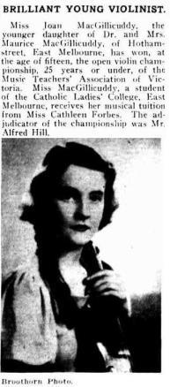 Joan as violinist 1934