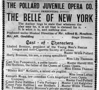 Pollards in San Francisco Nov 16 1901 at the Tivoli Opera House,