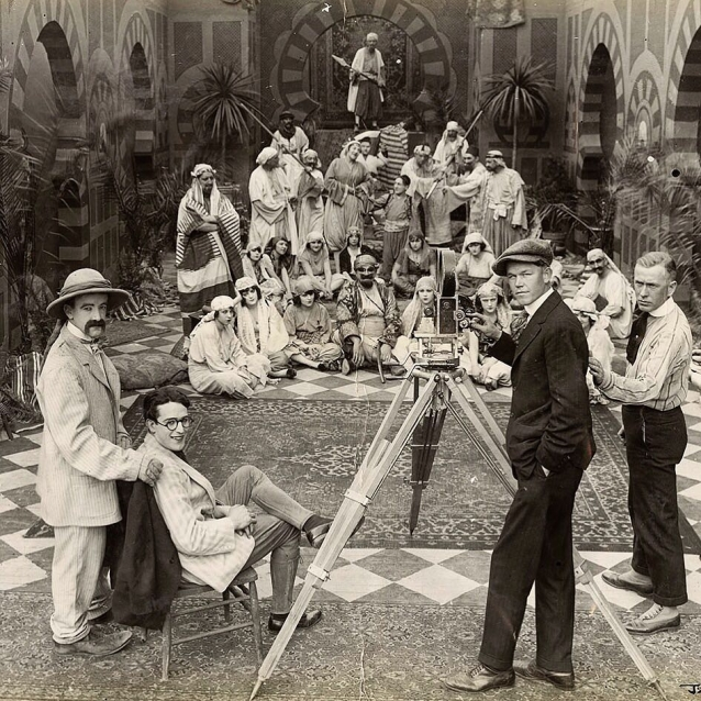 Snub Pollard Harold Lloyd & Alf Goulding on set 1918 Somewhere in Turkey