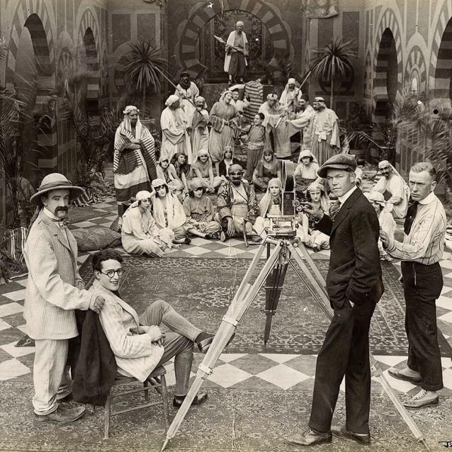 """Snub Pollard Harold Lloyd & Alf Goulding on set 1918 """"Somewhere in Turkey"""". Source unknown."""