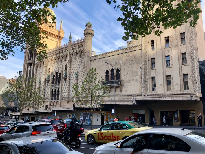 The boarded up entrance to the Rapallo is below the three single Moorish windows (the Forum's main entrance is from Flinders Street). The building is now owned by the Marriner Group.