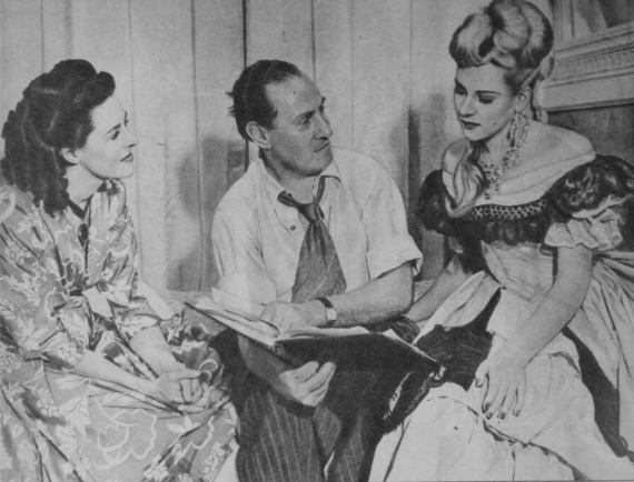 Beryl Baxter Leslie Arliss and Patti on set Pix 10-4-1947
