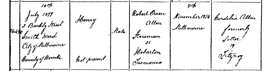 Harry Radford Allen birth cert July 10 1878