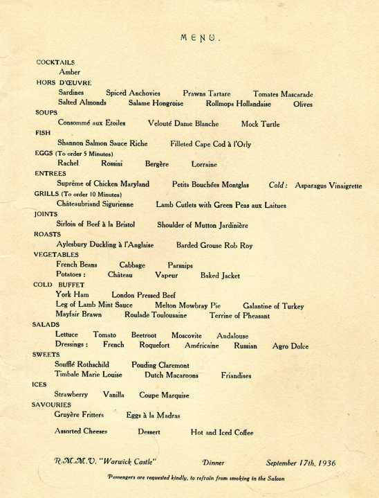 Union Castle Line (South Africa - England) 1936 Menu