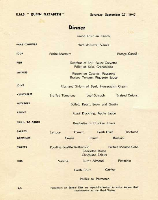 Queen Elizabeth menu 19471
