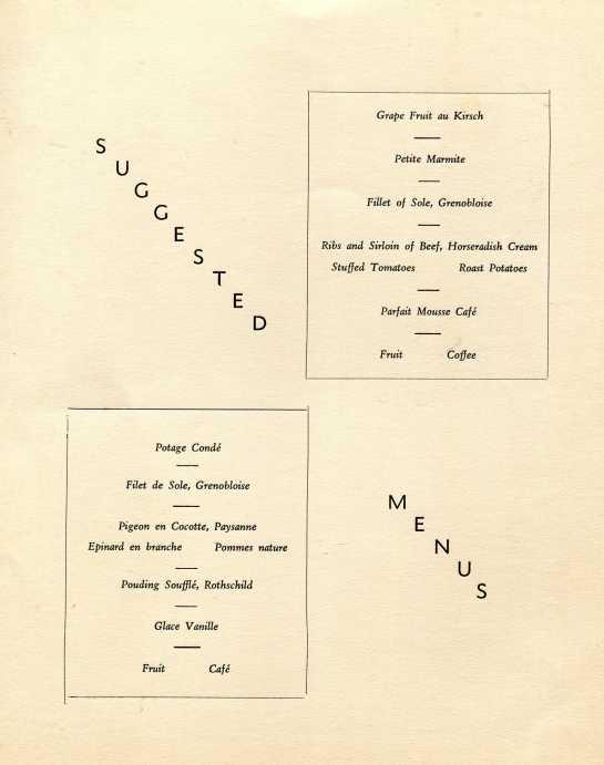 Suggested menue Queen Elizabeth 1947