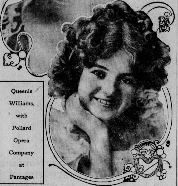 Queenie in 1914 while in Los Angeles